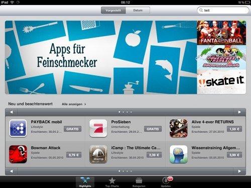 Jetzt auch in Europa: iPad AppStore Online