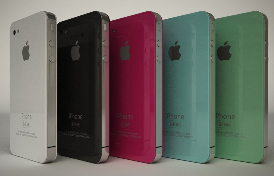 Mockup: iPhone 4G in 5 Farben