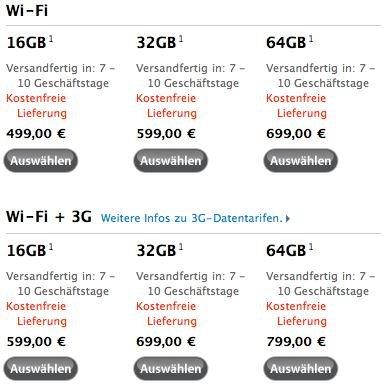 Apple Online Store: Neue iPad-Lieferzeiten