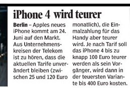 iPhone 4: Gerüchte zu den Preisen