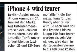 T Mobile Deutschland Iphone 4 Soll Bis Zu 400 Euro Kosten Giga