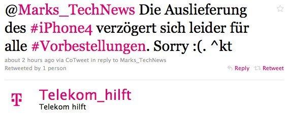 Telekom Deutschland: iPhone 4 Auslieferung verzögert sich