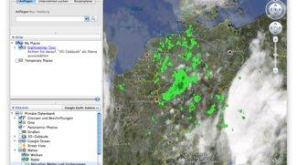 Google Earth zeigt, wie das Wetter ist