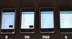Vier iPhone-Generationen im direkten Vergleich