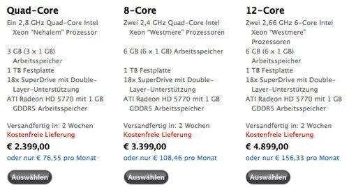 Apple Store: Neuer Mac Pro verfügbar, EU-Preise