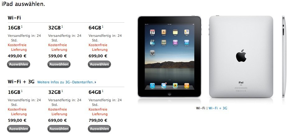 iPad: Lieferzeit sinkt auf 24 Stunden