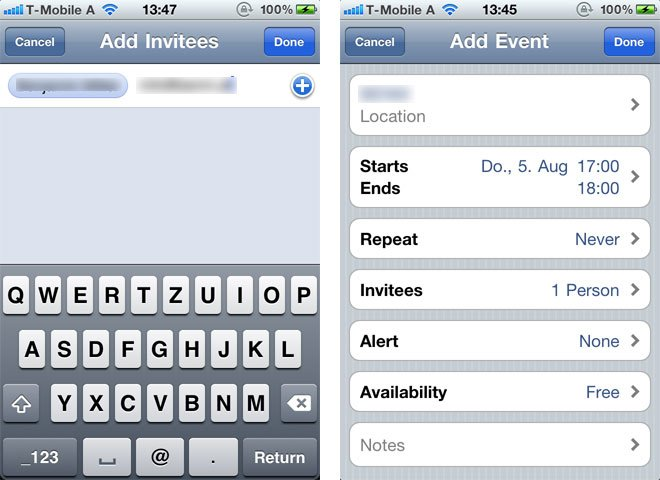 iOS 4/MobileMe Kalender Beta: Termineinladungen verschicken