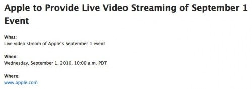 Apple to Provide Live Video Streaming of September 1 Event