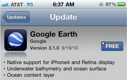 Google Earth Update: Unterwasserkarte und Retina Support