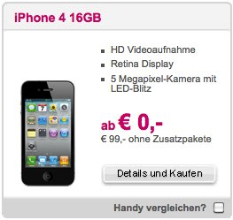 T-Mobile Austria: iPhone 4 ab 0,- Euro