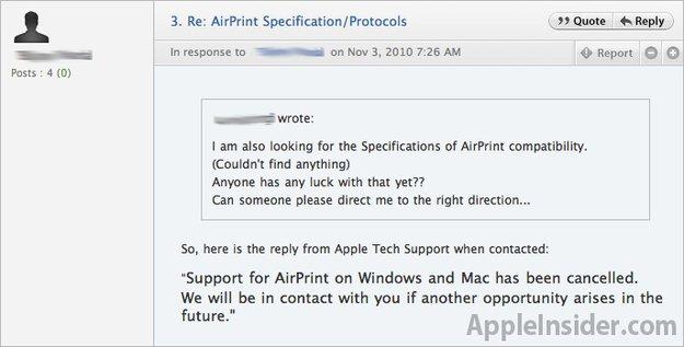 """iOS 4.2 und AirPrint: Vorerst kein Support für """"shared Printers"""""""