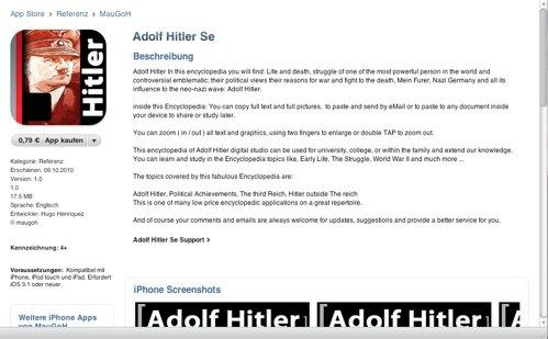 Erneut, Inklusive Hakenkreuz: Adolf Hitler App im App Store