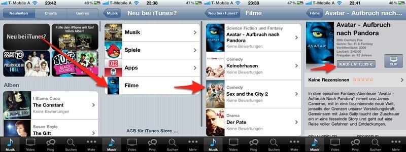 Für Österreicher: Mobiler iTunes Store mit Direktzugang zum Filmangebot [Update]