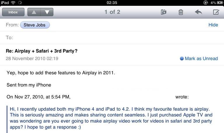 Steve Mail: AirPlay für Safari und AppStore Apps noch 2011