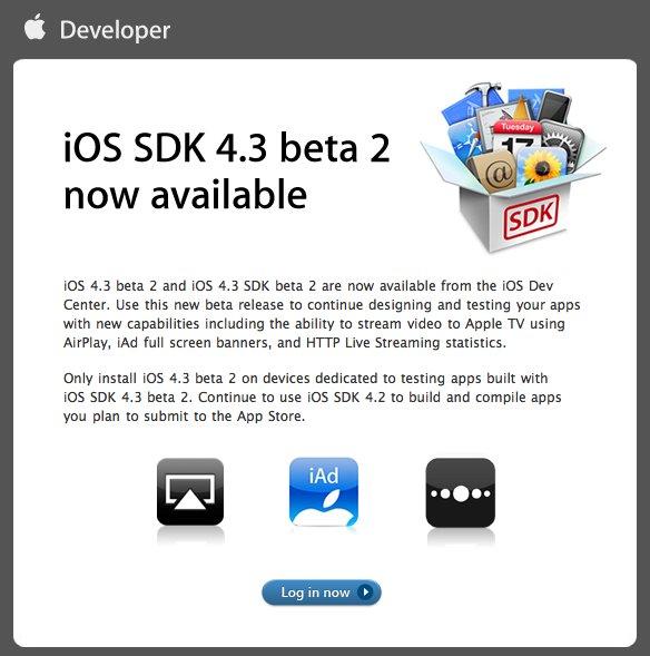 iOS 4.3 Beta 2 ab sofort für Entwickler verfügbar