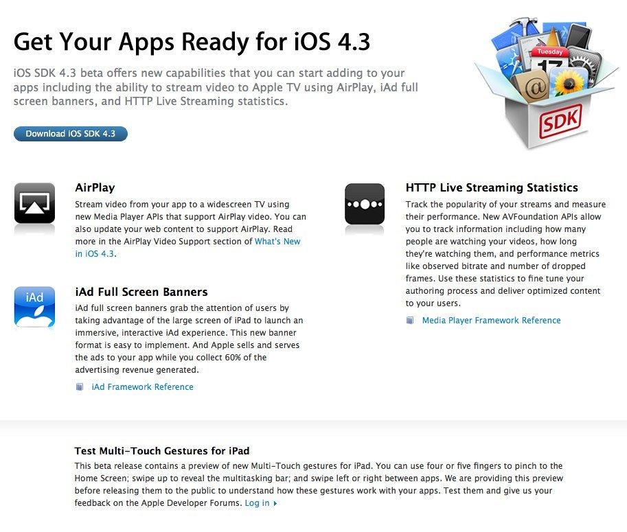 Für Entwickler: Apple veröffentlicht iOS 4.3b1