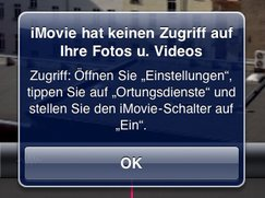 iMovie für iPad: Keine Videobearbeitung ohne Ortung möglich