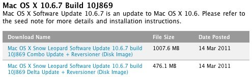 Mac OS X 10.6.7: Neuer Beta-Build