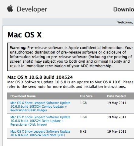 Mac OS X 10.6.8: Zweiter Vorab-Build erschienen