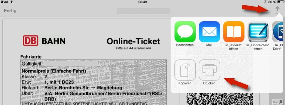 Drucken am iPad: Airprint