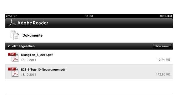 Adobe Reader für PDFs auf iPhone und iPad