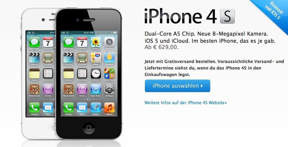 iPhone 4S Online-Vorverkauf in 22 weiteren Ländern verfügbar