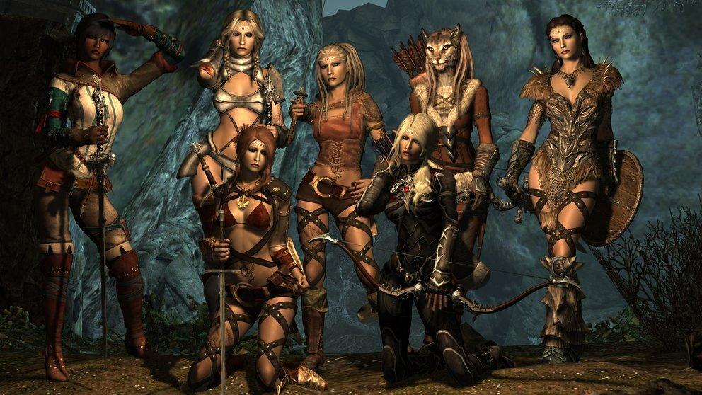 """Diese Damen gibt es nicht einfach so in Skyrim, dafür wird eine Mod benötigt (""""Sexy Girls of Skyrim Mod"""")"""
