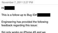 Nachricht von Apple: Siri nur für iPhone 4S, keine Pläne für ältere iPhones