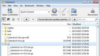 CybderDuck FTP Client kommuniziert mit GoogleDocs
