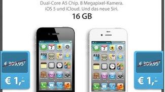 iPhone 4S 16 GB mit Telekom Call &amp&#x3B; Surf Mobil S Tarif für 1 Euro Zuzahlung