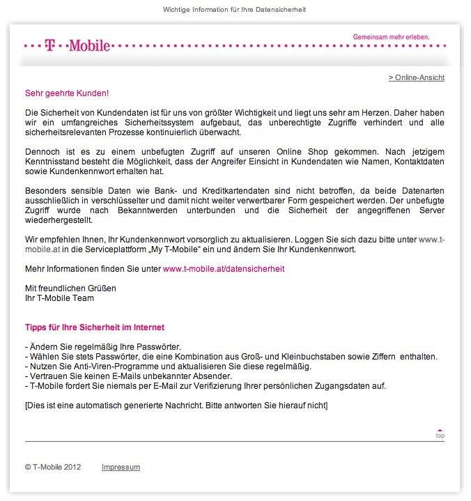 Email von T-Mobile Austria