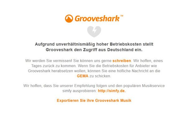Grooveshark sperrt Zugang für deutsche User, beschuldigt GEMA (UPDATE)