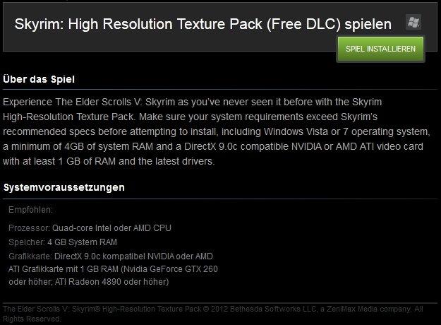Hier könnt ihr das Skyrim High-Res Texturen Paket runterladen