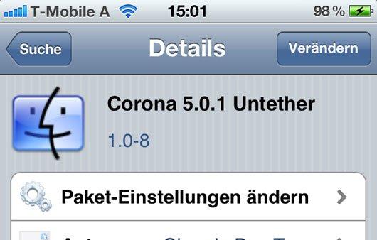 Corona 5.0.1 Untether: Neue Version 1.0-8 für Jailbreak-User
