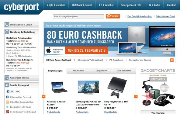 Bis zu 100 Euro Rabatt bei Cyberport
