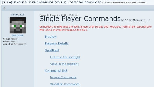 Minecraft Singleplayer Commands Mod