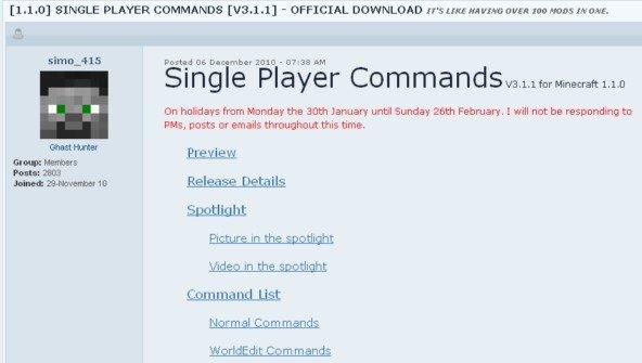 Minecraft Singleplayer Commands Mod