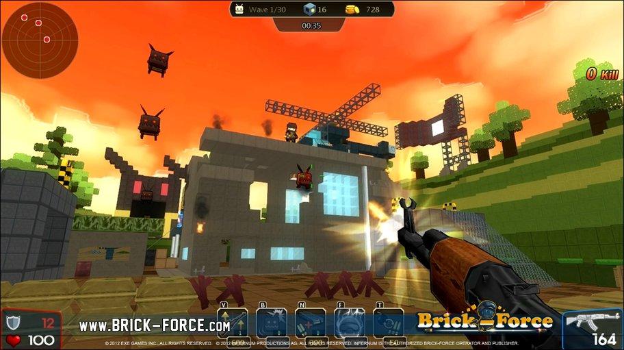 Brick-Force: Neben anderen Spielern gilt es auch, sich der Mobs zu erwehren