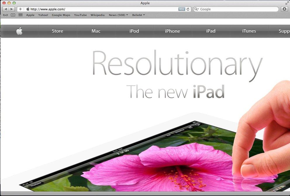 Apple-Seite für iPad-Retina Display lässt sich in Desktop-Safari anzeigen