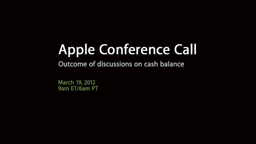 Heute: Apple-Telefonkonferenz bezüglich Apples Barreserven