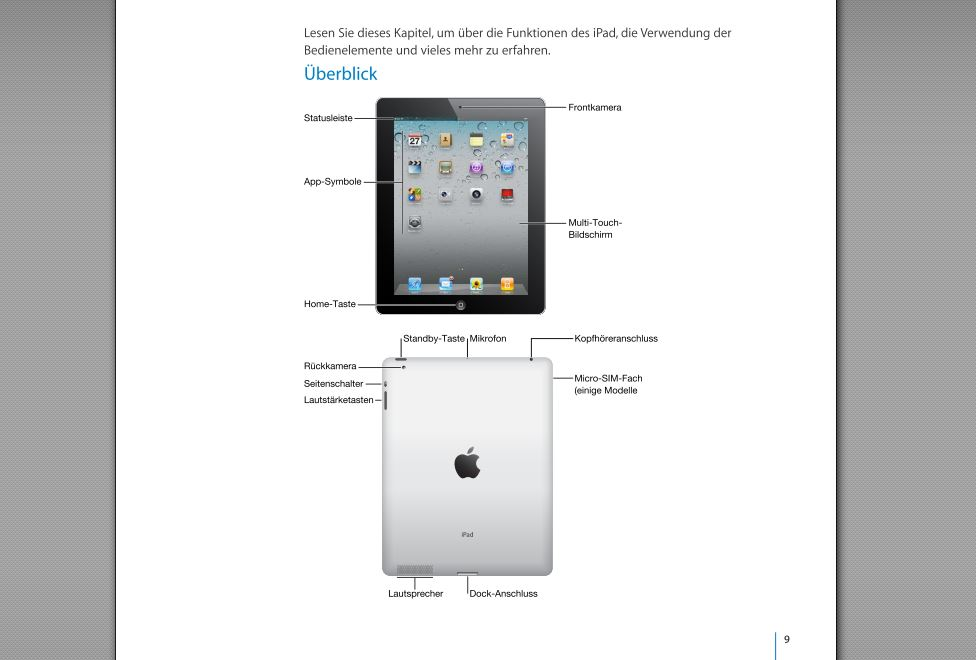 ipad manual deutsch how to and user guide instructions u2022 rh lakopacific com iPad 2 Wi-Fi User Manual Best iPad Manual