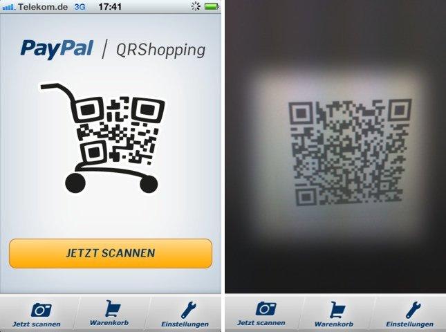 PayPal-App QRShopping: Einkaufen mit der iPhone-Kamera