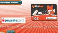 10 Euro geschenkt mit HitFox Paysafecard