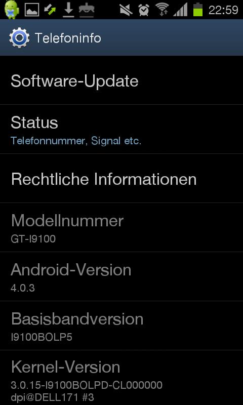 Samsung Galaxy S2 mit Android 4.0 Ice Cream Sandwich
