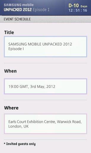 Samsung UNPACKED 2012 App