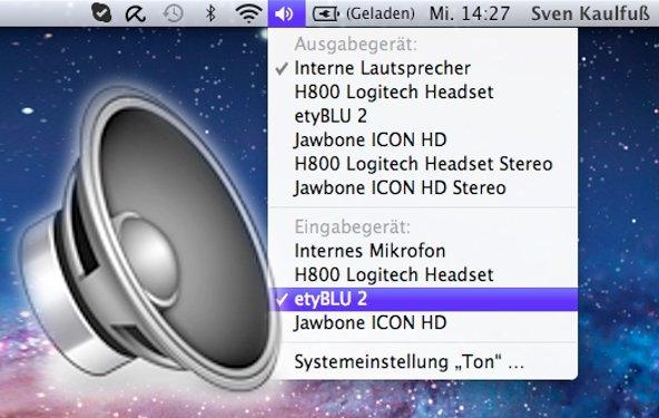 Erweiterte Audioeinstellungen in der Menüleiste: Mac-Tipp