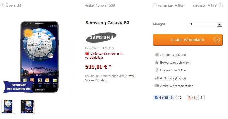 getgoods Galaxy S3 vorbestellen