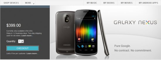 Google Galaxy Nexus Play Store