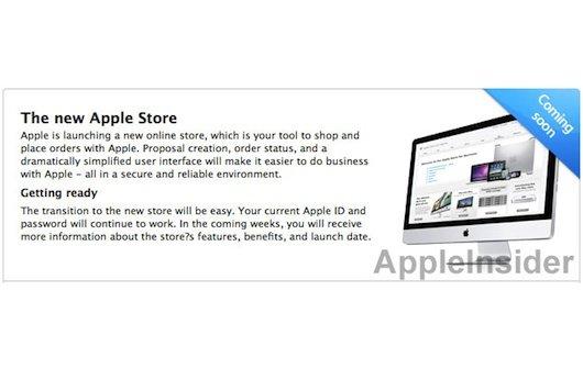 """Apple Online Store: Einblendung kündigt """"neuen Apple Store"""" an"""