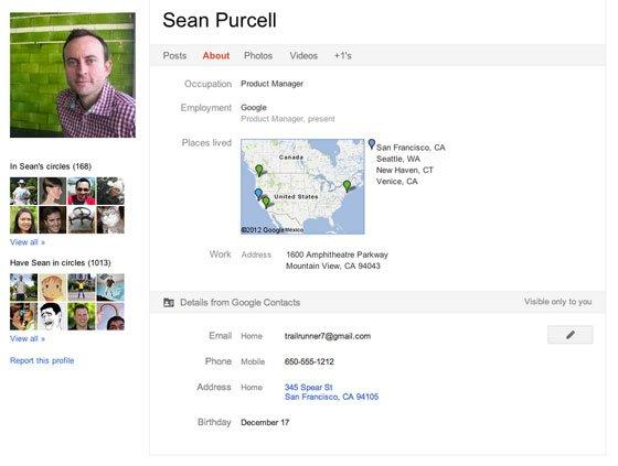 Google +-Profil von Sean Purcell (Produktmanager bei Google)